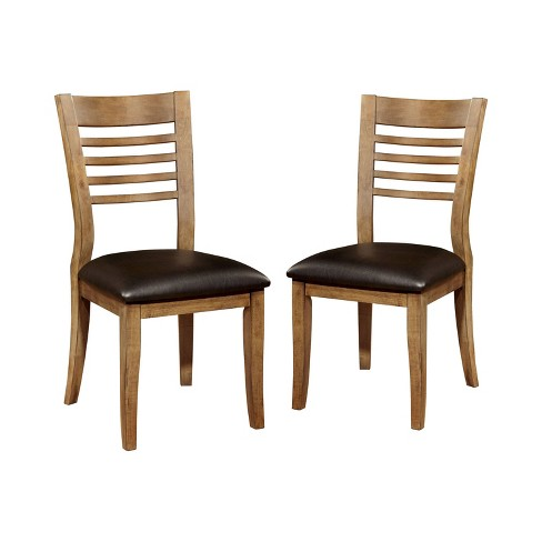 Set of 2 Lennard Ladder Back Leatherette Padded Side Chair Natural Tone - miBasics - image 1 of 3
