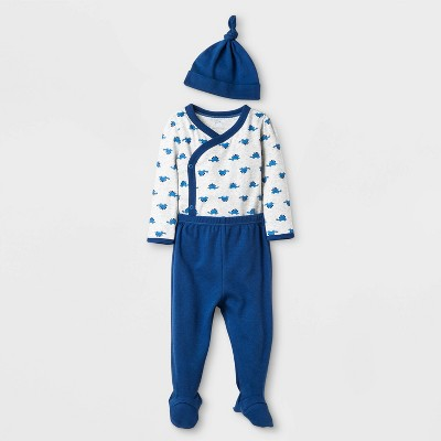 Baby Boys' 4Pc Dino Take Me Home Set Layette set - Cloud Island™ True Navy Newborn