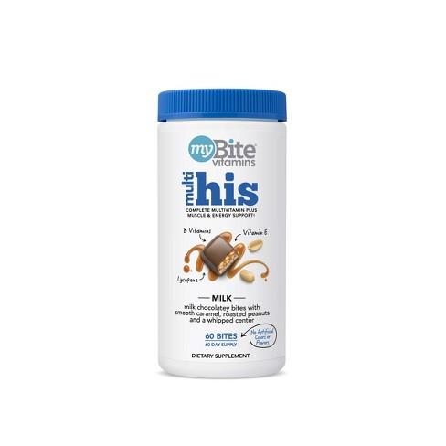 MyBite His - Men's Multivitamin Chewables - Milk Chocolatey Peanut - 60ct - image 1 of 4