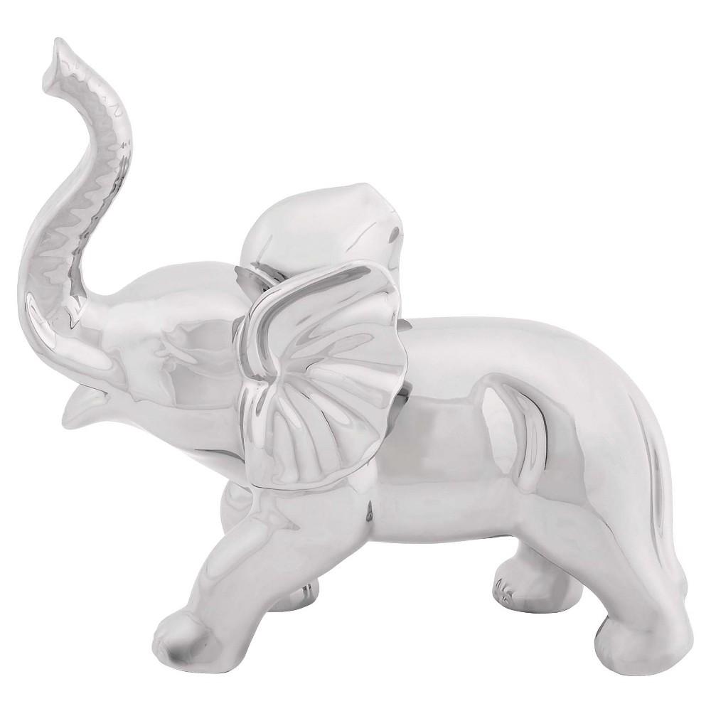 Amazing Animals Porcelain Standing Elephant Sculpture (12) - Olivia & May, Shiney Silver