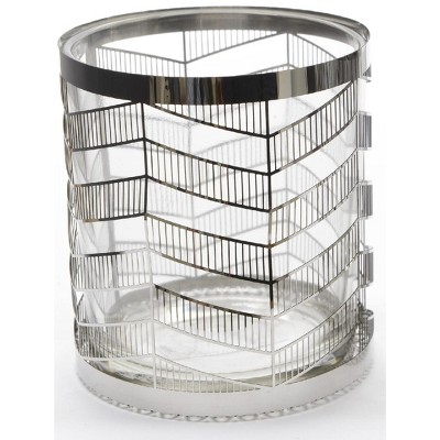 "Kaemingk 4"" City Chic Glass Votive Candle Holder with Stainless Steel Cover - Clear/Metallic"