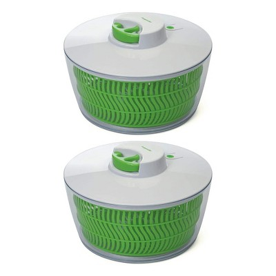 Prep Solutions 4Qt Self Retracting Pull Cord Home Salad Spinner, Green (2 Pack)