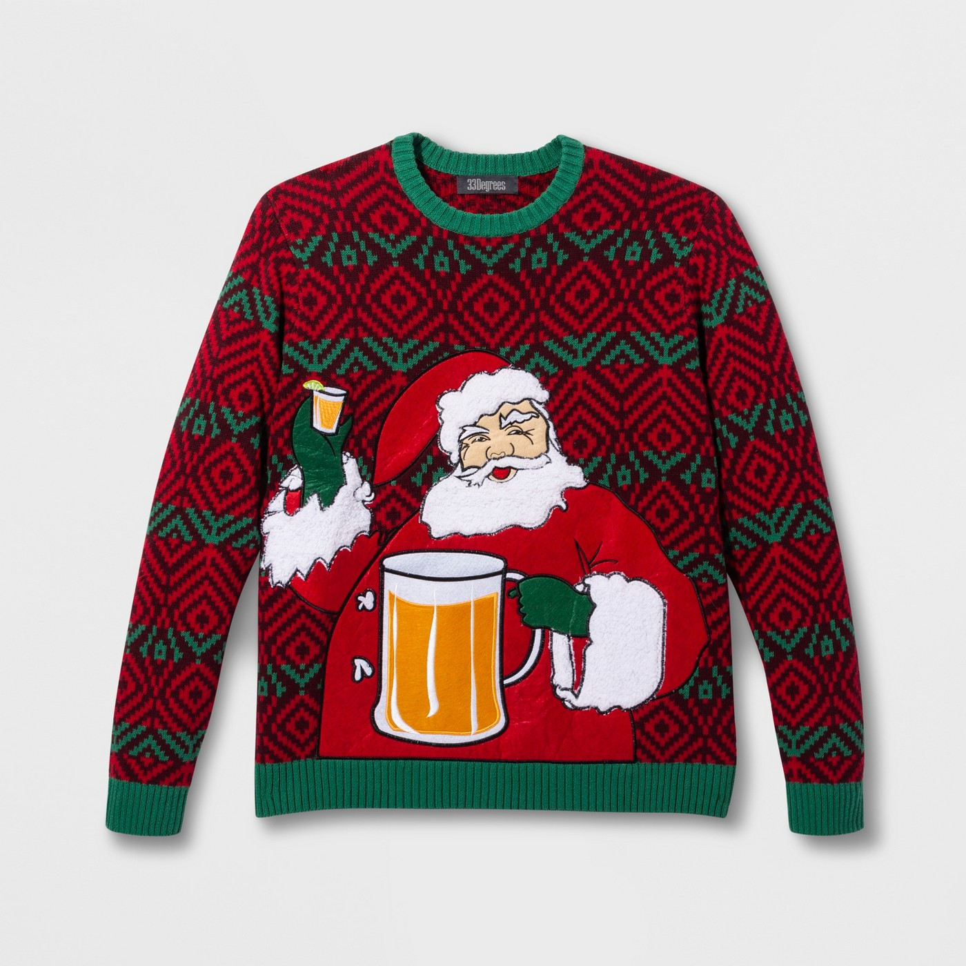 33 Degrees Men's Ugly Christmas Santa Beverage Holder Long Sleeve Pullover Sweater - Red - image 1 of 1