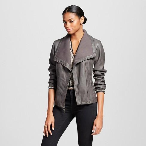 Women S Rib Trim Faux Leather Moto Jacket Mossimo Target