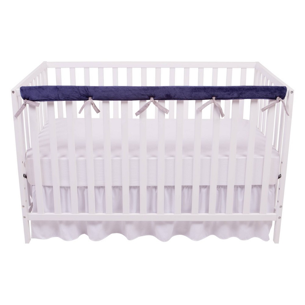 Image of Sammy and Lou Reversible Velour Crib Rail Cover Navy