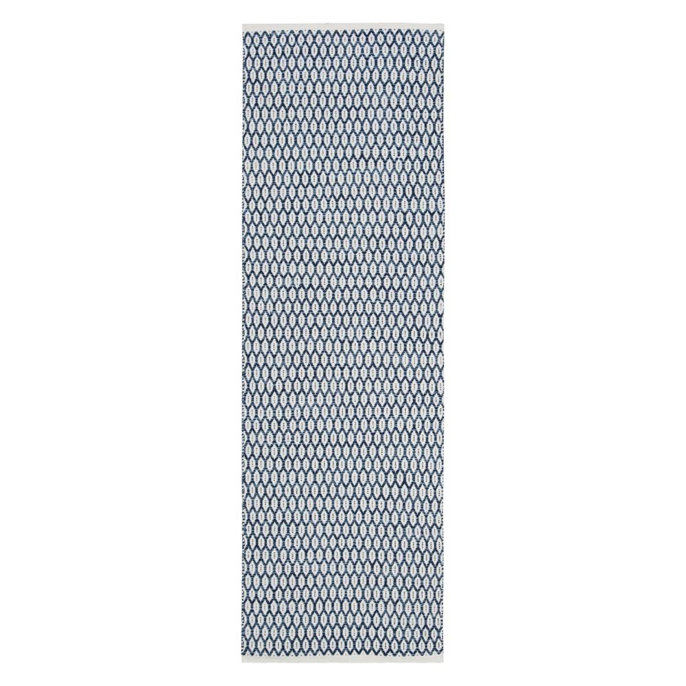 2 3 X7 Geometric Woven Runner Navy Ivory Safavieh