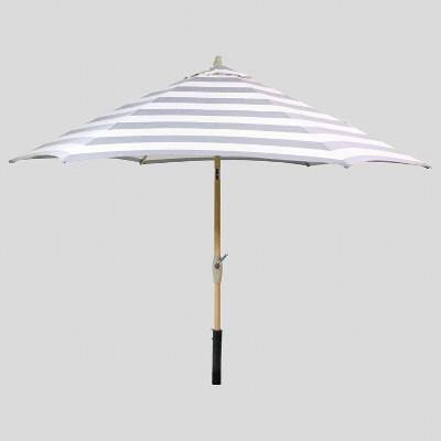 9' Round Cabana Stripe Patio Umbrella Black - Light Wood Pole - Threshold™