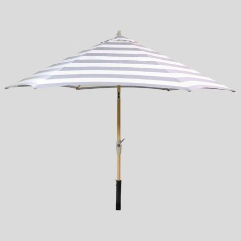 9' Round Cabana Stripe Patio Umbrella Black - Light Wood Pole - Threshold™ - image 1 of 3
