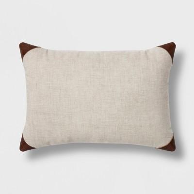 Leather Trim Linen Lumbar Pillow Tan - Threshold™