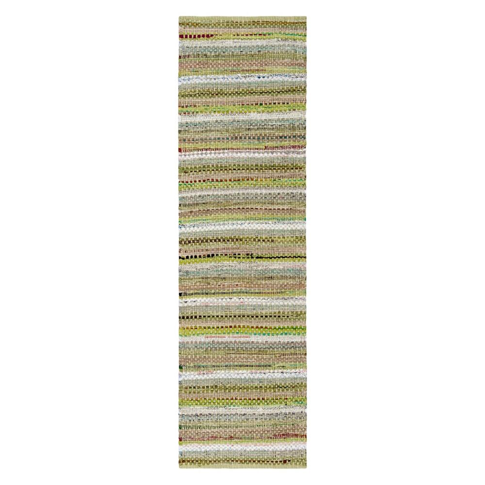 Green Stripe Woven Runner 2'3X8' - Safavieh