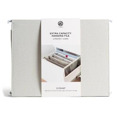 U Brands 2pk 4 Pocket Extra Capacity Linen Hanging File Folder - Coastal Comfort