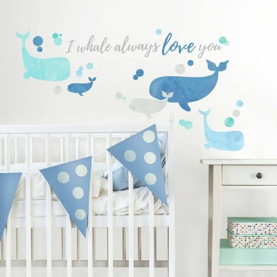 RoomMates I Whale Always Love You Peel and Stick Giant Wall Decal