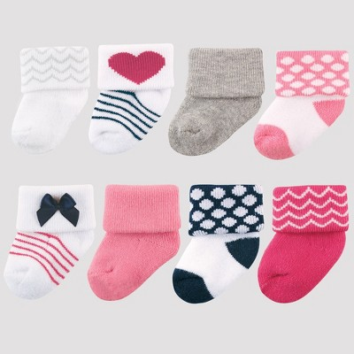Luvable Friends Baby Girls' 8pk Socks - Dark Pink 0-6M