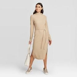 Women's Long Sleeve Mock Turtleneck Belted Knit Midi Dress - A New Day™