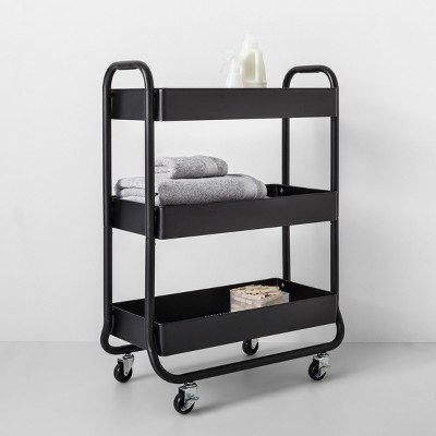 Wide Metal Cart With Wheels Black   Made By Design™ : Target