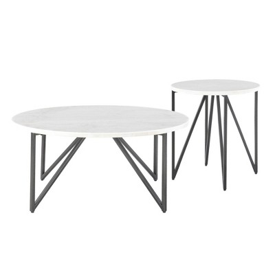 2pc Kinsler Occasional Coffee Table & End Table Set White - Picket House Furnishings