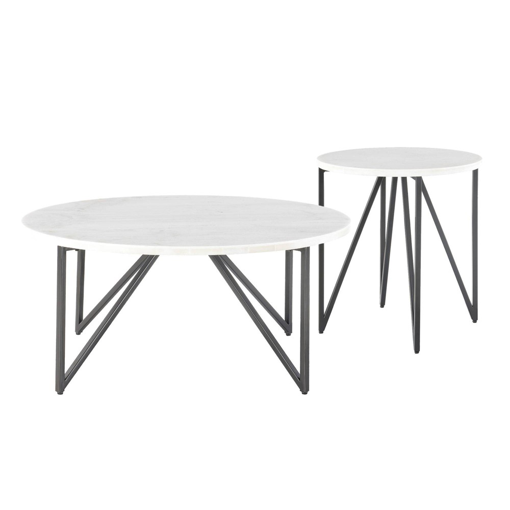 Image of 2pc Kinsler Occasional Coffee Table & End Table Set White - Picket House Furnishings