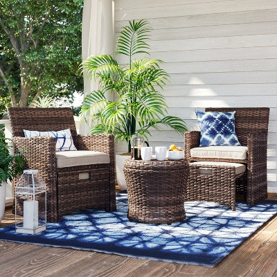 Halsted 5pc Wicker Patio Seating Set   Tan   Threshold™ : Target