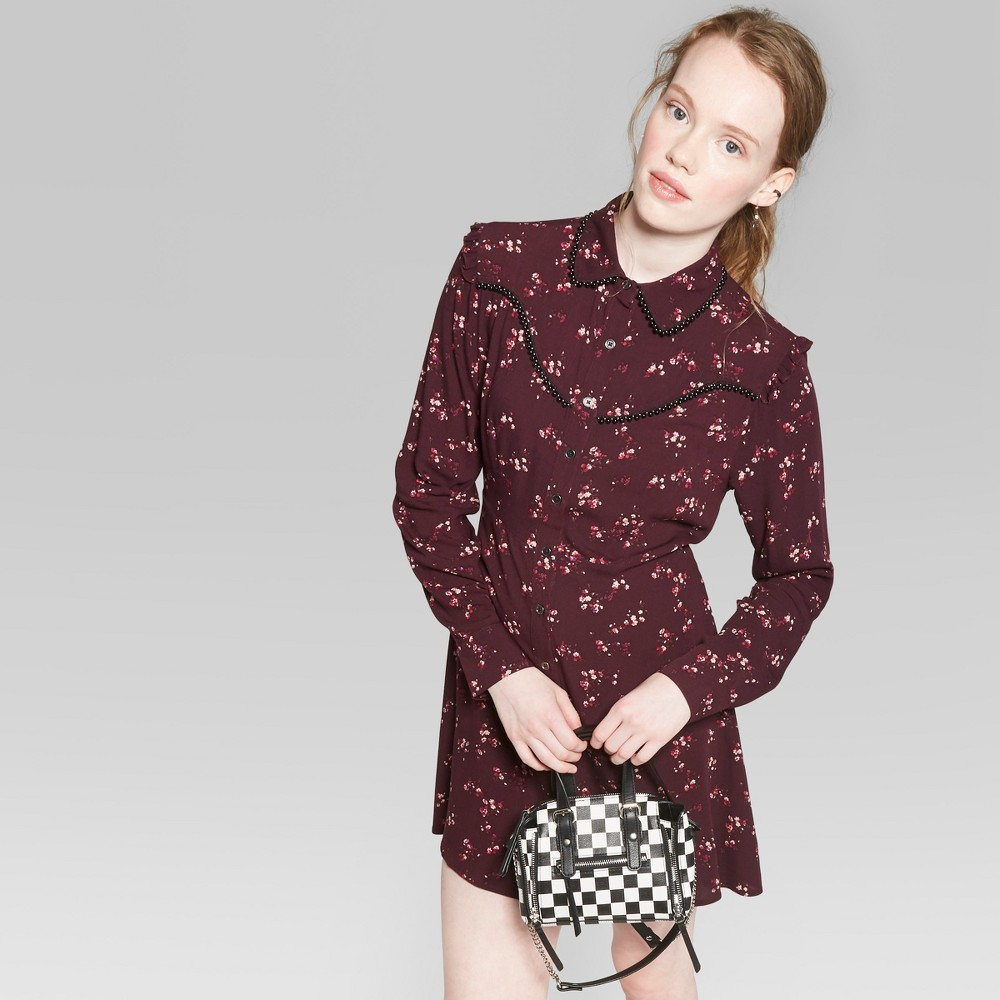 Women's Long Sleeve Button-Up Floral Western Shirt Dress - Wild Fable Burgundy M, Red was $25.0 now $12.5 (50.0% off)