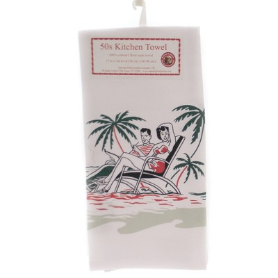 "Tabletop 24.0"" Beach Day Kitchen Towel Ocean Sand 100% Cotton Red And White Kitchen Company  -  Kitchen Towel"