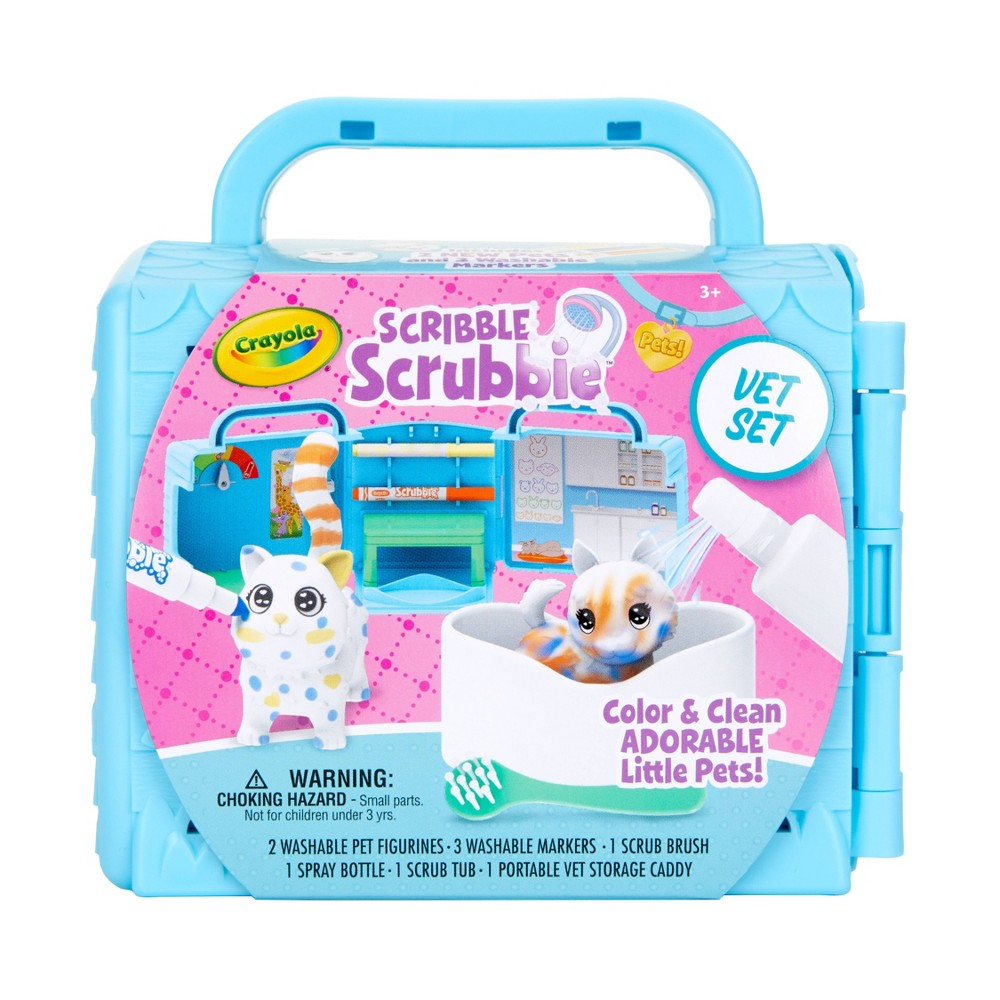 Crayola 9pc Scribble Scrubbie Pets, Vet Toy Playset with Toy Pets