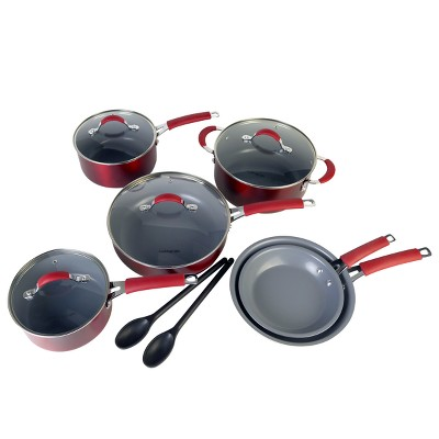 Cooking Light Allure 12pc Ceramic Nonstick Cookware Set Red