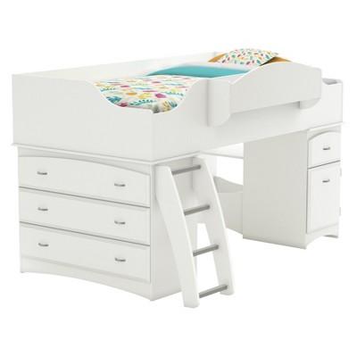 Imagine Storage Loft Kids Bed White (Twin)   South Shore