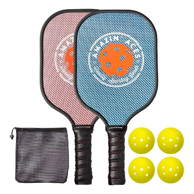 Amazin Aces Classic Pickleball Set with 2 Graphite Face Paddles, 4 Balls, and Carry Bag, Blue & Pink
