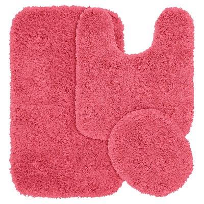 Garland 3 Piece Jazz Shaggy Washable Nylon Bath Rug Set - Pink