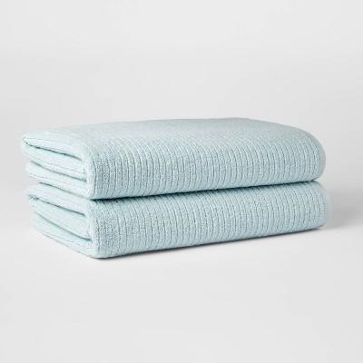 2pk XL Quick Dry Ribbed Bath Towel Set Aqua - Threshold™