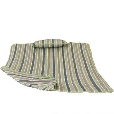 Cotton Quilted Hammock Pad and Pillow - Khaki Stripe - Sunnydaze Decor