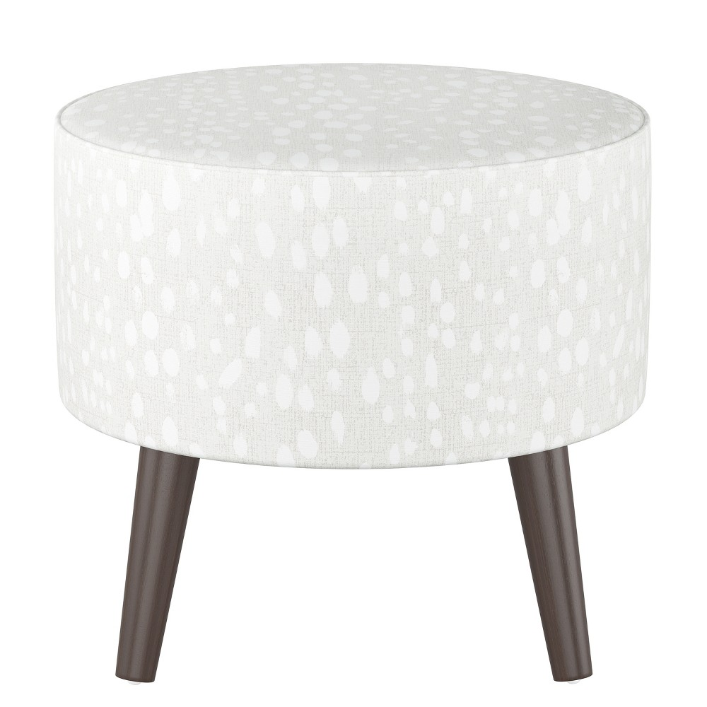 Riverplace Round Cone Leg Ottoman Ivory Leopard Print with Espresso Legs - Project 62