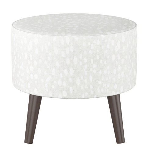Peachy Riverplace Round Cone Leg Ottoman Ivory Leopard Print With Espresso Legs Project 62 Ncnpc Chair Design For Home Ncnpcorg