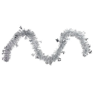 "Northlight 50' x 2.75"" Unlit Silver and Shiny Snowflakes Tinsel Christmas Garland"