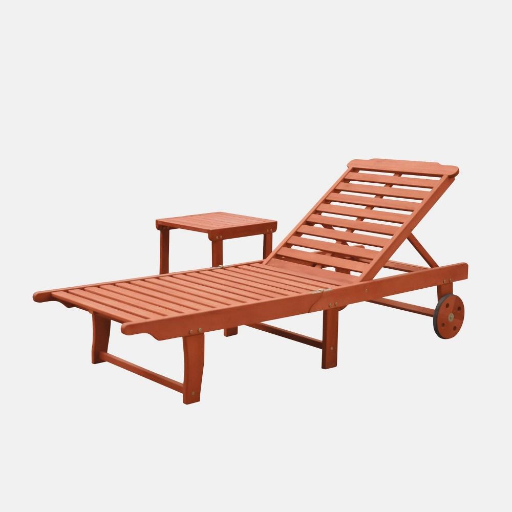 Malibu Outdoor Patio Wood 2pc Beach & Pool Lounge Set, Tan