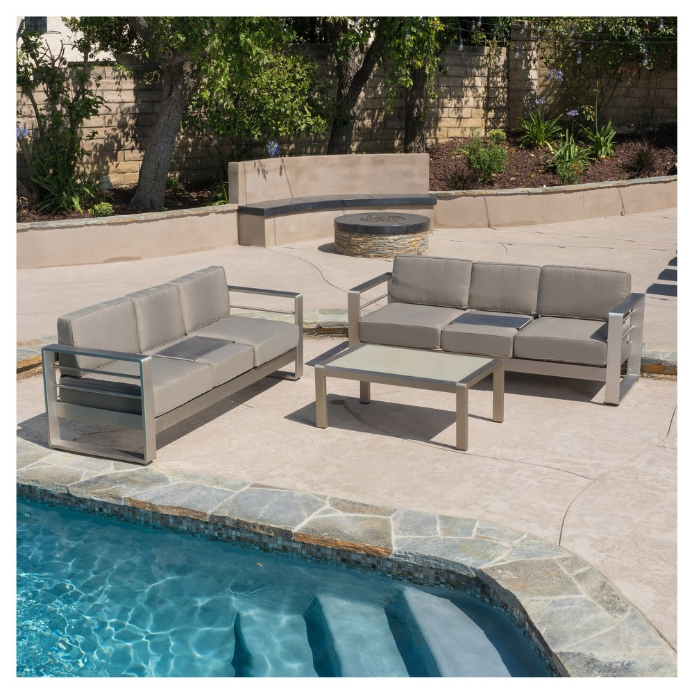 Cape Coral 3pc Metal Patio Sofa Set w/Cushions - Khaki - Christopher Knight Home, Silver