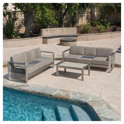 Cape Coral 3pc Metal Patio Sofa Set W/Cushions   Khaki   Christopher Knight  Home : Target