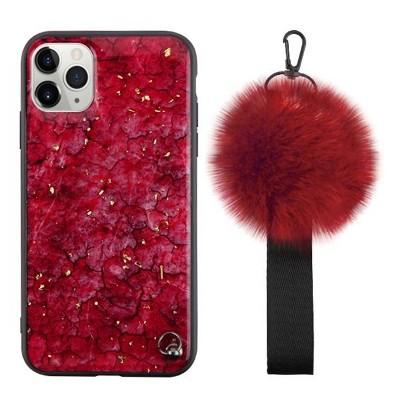 MYBAT Pomzie Hybrid w/Pom-pom Wrist Strap Ruby Red Hard Dual Layer Plastic TPU Case For Apple iPhone 11 Pro, Red