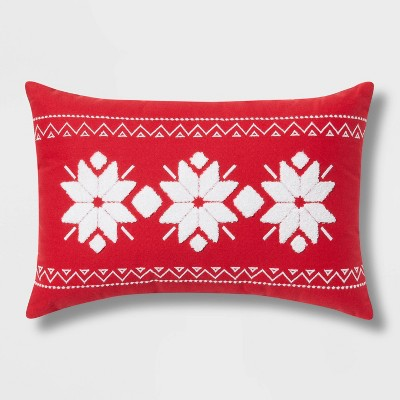 Fair Isle Embroidered Cotton Lumbar Throw Pillow - Wondershop™