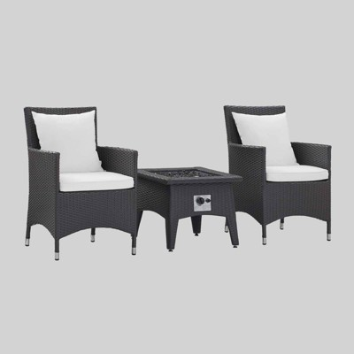 Convene 3pc Outdoor Patio with Fire Pit - Espresso White - Modway