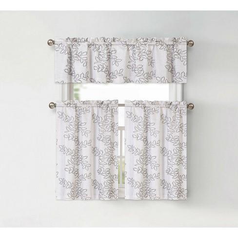 GoodGram Brielle Embroidered Floral Kitchen Curtain Tier & Valance Set - image 1 of 1