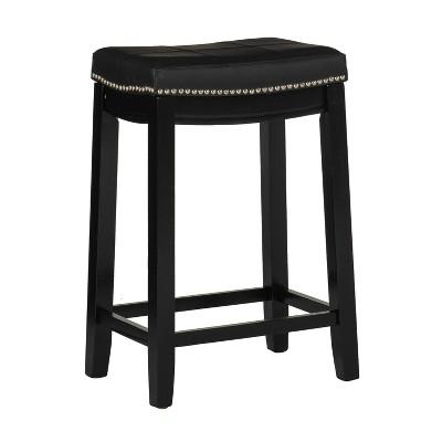 Padded Saddle Seat Barstool Hardwood - Linon