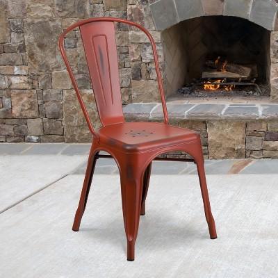 Flash Furniture Commercial Grade Distressed Metal Indoor-Outdoor Stackable Chair