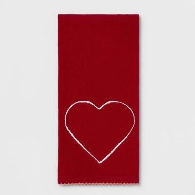Heart Flat Weave Kitchen Towel Red