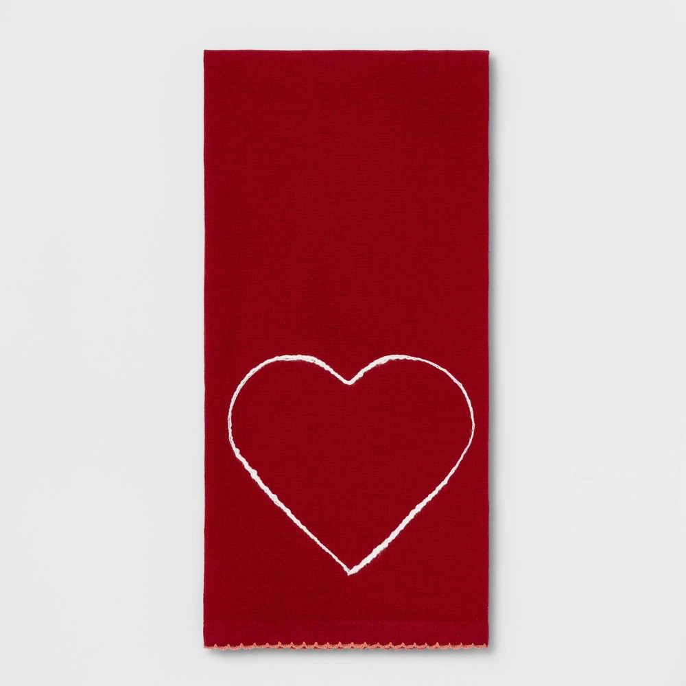 Image of Heart Flat Weave Kitchen Towel Red
