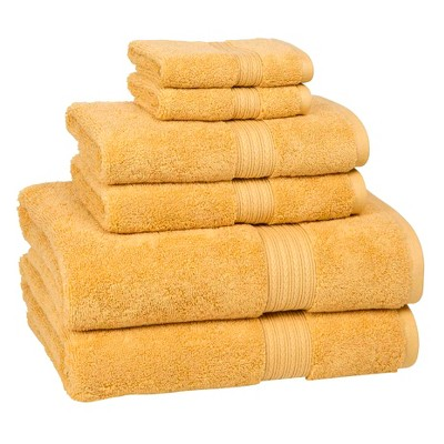 6pc Signature Solid Bath Towel Set Gold - Cassadecor