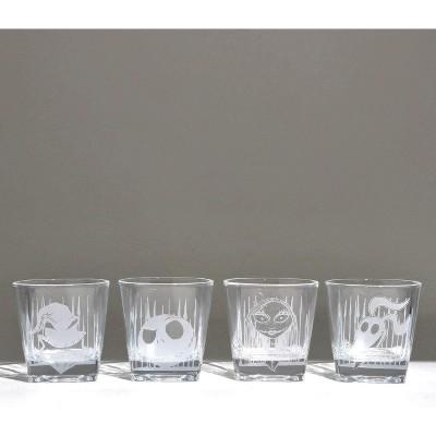 Silver Buffalo Nightmare Before Christmas Characters 4 Piece 9oz Rock Glass Set