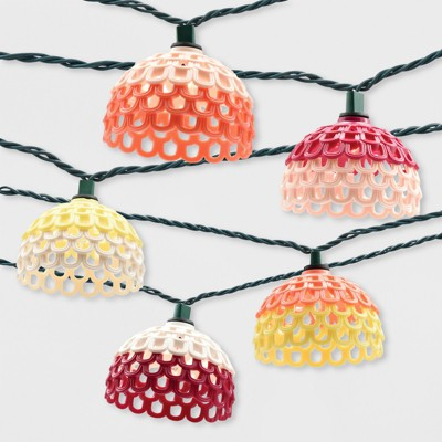 10ct Textured Open Hood Outdoor String Lights Multi-Colored - Opalhouse™