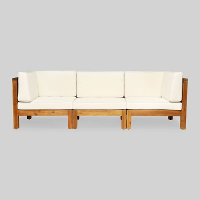 Oana 3pc Acacia Wood Patio Modular Sofa - Teak/Beige - Christopher Knight Home