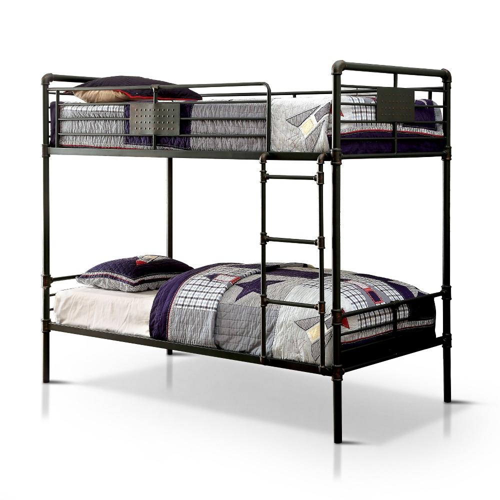Image of Derrick Kids Bunk Full/Full Bed Antique Black - Sun & Pine, Size: Full / Full